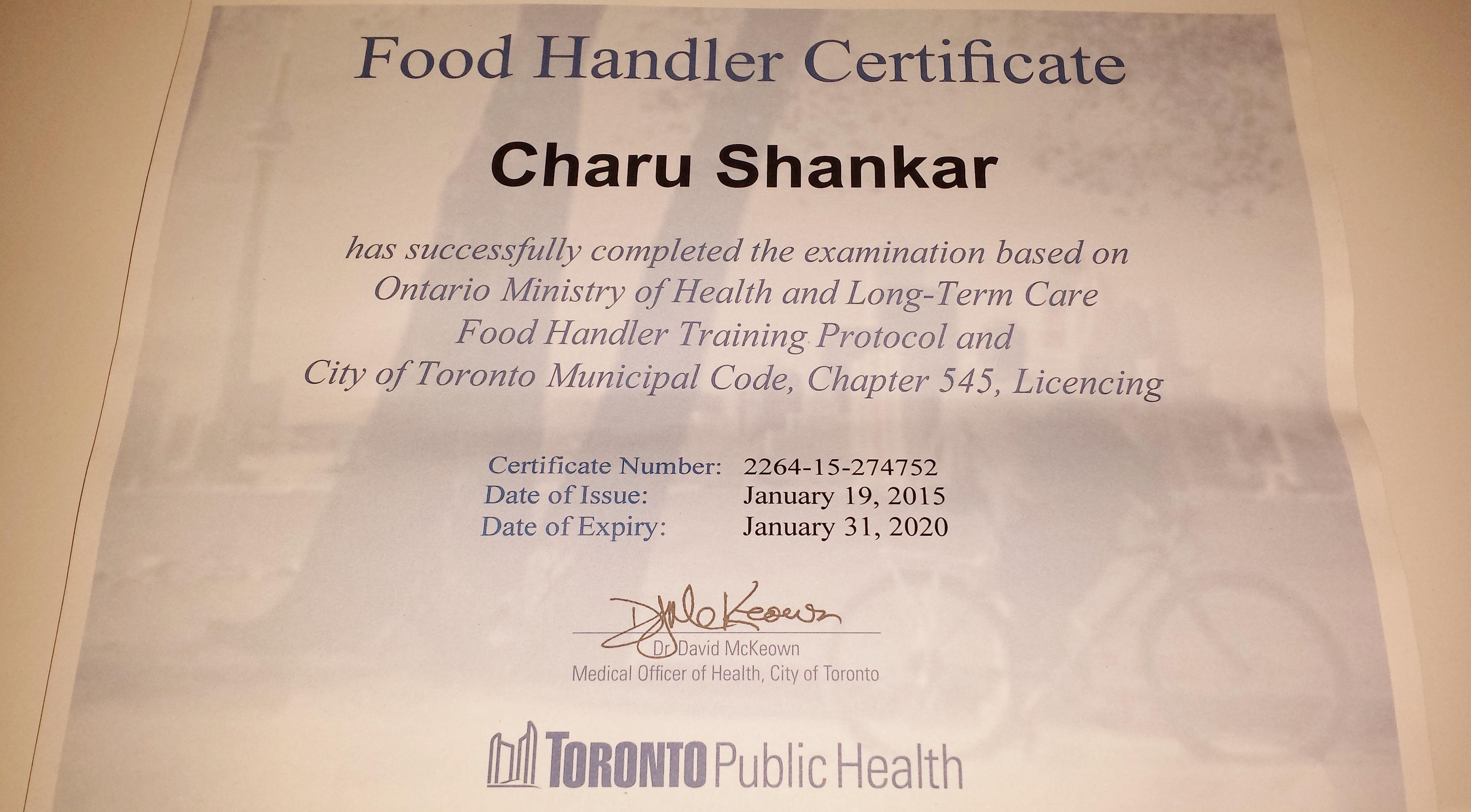 Food Handling Certificate Ontario Food